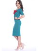 Solid Crew Neck Half Sleeve Elegant Bow Midi Dress
