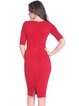 Red Elegant Solid Sheath Polyester Midi Dress