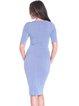 Lavender Solid Elegant Sheath Midi Dress