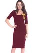 Burgundy Sheath Bow Solid Half Sleeve Midi Dress