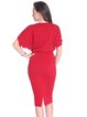 Red Batwing Crew Neck Bow Polyester Midi Dress