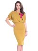 Mustard Crew Neck Solid Elegant Bow Midi Dress