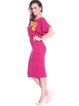 Fuchsia Batwing Sheath Midi Dress