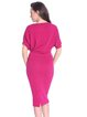 Fuchsia Crew Neck Casual Midi Dress