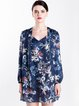 Navy Blue Long Sleeve H-line Silk Printed Blouse