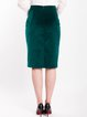Dark Green Elegant Velvet Pencil Skirt
