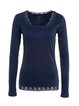 Navy Blue Basic Solid Cotton-blend Paneled Long Sleeved Top