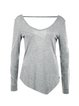 Gray Simple Solid V Neck Long Sleeved Top