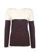 Burgundy Color-block H-line Crew Neck Long Sleeve Sweater