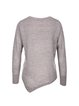 Coffee Crew Neck Long Sleeve Asymmetrical Knitted Sweater