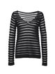 Black Wool Blend Stripes H-line Long Sleeved Top