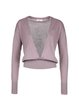 Deep Pink Knitted Solid Plunging Neck Casual Long Sleeved Top