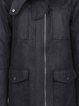 Black Solid Hoodie Long Sleeve Coat