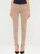 Khaki Solid Cotton-blend Casual Skinny Leg Pants
