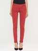 Red Casual Cotton-blend H-line Solid Skinny Leg Pants