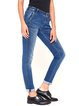 Blue Casual Cotton-blend Washed H-line Straight Leg Pants