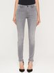 Gray Cotton-blend H-line Casual Solid Skinny Leg Pants