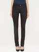 Black Solid Cotton-blend Casual H-line Skinny Leg Pants