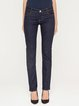 Dark Blue Solid Casual Cotton-blend H-line Jeans