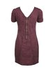 Burgundy Zipper Solid Short Sleeve Square Neck Mini Dress
