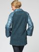 Stand Collar Paneled Long Sleeve Wool Blend Casual Coat