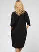 Black Appliqued Batwing Polyester Midi Dress