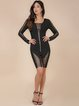 Black Zipper Square Neck Solid Sexy Bandage Dress
