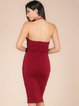 Burgundy Halter Sexy Lace Up Polyester Midi Dress