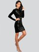 Black Solid Sheath Glitter-finished Sexy Midi Dress