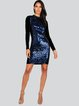 Glitter-finished Long Sleeve Stand Collar Sexy Polyester Midi Dress