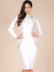 White Beaded Sexy Sheath Polyester Midi Dress