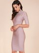 Pink Pierced Sheath Sexy Crew Neck Bandage Dress