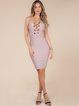 Pink Solid Cutout Sexy Polyester Bandage Dress