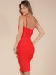 Red Cutout Solid Spaghetti Spaghetti Bandage Dress