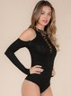 Black Sexy Sheath Lace Up Cold Shoulder Bodysuit