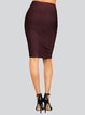 Brown Polyester Solid Sexy Sheath Pencil Skirt
