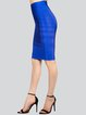 Royal Blue Sheath Polyester Solid Sexy Pencil Skirt