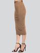 Khaki Sexy Polyester Pencil Skirt