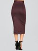 Brown Sexy Sheath Polyester Pencil Skirt