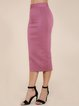 Deep Pink Polyester Sexy Solid Sheath Pencil Skirt