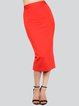 Red Sexy Solid Pencil Skirt