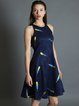 Dark Blue Sleeveless Feather Embroidered r Midi Dress