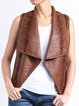 Casual Leather Solid Sleeveless Vests