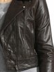 Brown Lapel Long Sleeve Zipper Leather Biker Jacket