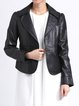 H-line Pockets Long Sleeve Solid Casual Leather Jacket