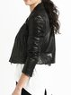 Black Solid Long Sleeve Biker Jacket