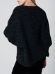 Deep Gray Crew Neck H-line Knitted Batwing Sweater