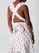 White Boho Geometric V Neck Printed Maxi Dress