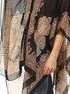 Black Asymmetrical Polyester V Neck Casual Kimono