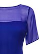 Purple Elegant H-line Silk See-through Look Blouse